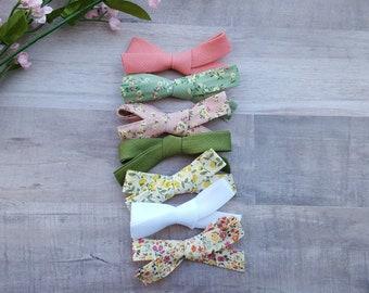 hand-tied bows, mini bows, baby bows, newborn bows, summer bows, floral bows,