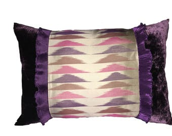 Purple velvet and silk printed cushion