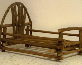 Vintage Handmade Twig Bed / Vintage Doll Bed