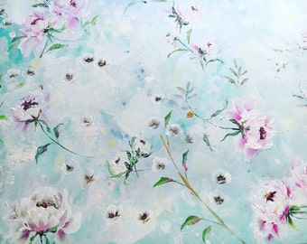 Whimsical Flower Painting on 30x40 Canvas