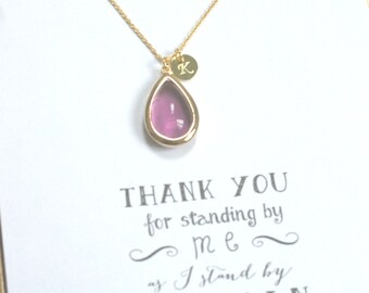 Set of 10 Purple Bridesmaid Necklace Gold Initial, Plum Gold Personalized Necklace, Bridesmaid Gift, Violet necklace, HP10
