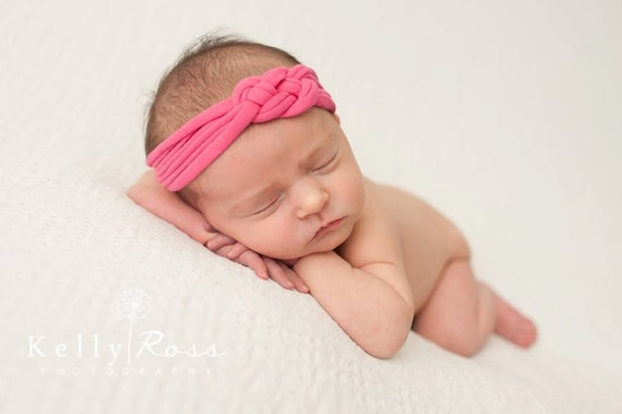 Newborn Headwrap, Baby Girl Headband, Knot Headband, Pink Headband, Infant Turban, Baby Headband, Infant Headbands, tied baby headband