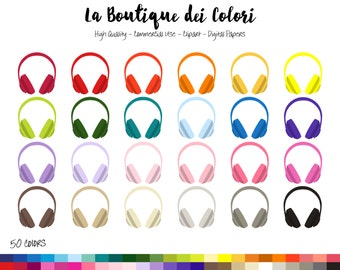 50 Rainbow Headphones Clip art, Colorful Digital illustrations PNG, music headset Clipart, Planner Stickers Commercial Use