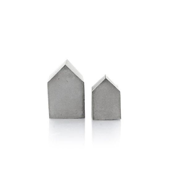 small concrete house set of two beton decor cement house