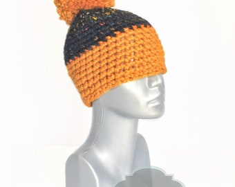 Orange and Black Chunky Beanie with Pom, Black Tweed Crochet Hat, Two Tone Winter Beanie With Puff, Pom Pom Knit Hat, Orange Ski Cap