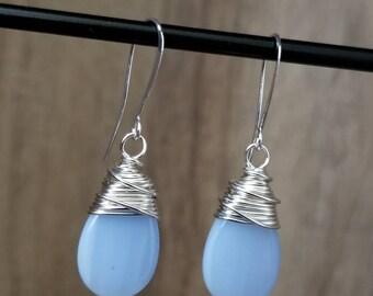 Silver & Blue Glass Teardrop Wrapped Earring