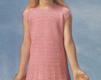 785S girls dress crochet vintage pattern PDF instant download