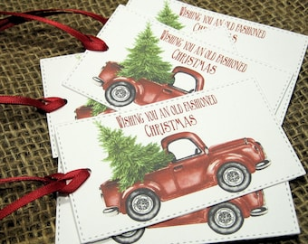 Hipster Christmas Gift Tags - Set of 6 - Red truck with Christmas Tree - Trending - Wishing you an old fashioned - Vintage - Rustic