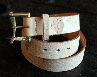 """1.5"""" Natural Vegtan Rough Out belt with Solid Brass or Nickel Quick Release Buckle - Made to Order"""