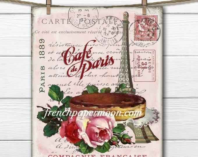 Shabby Digital Teatime in Paris, Eiffel Tower, Cake, Roses, French Graphics, cafe de paris, home decor, DIY
