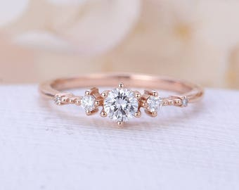 Unique engagement ring rose gold Vintage cluster Moissanite engagement ring women Antique diamond wedding Valentine's day gift for her
