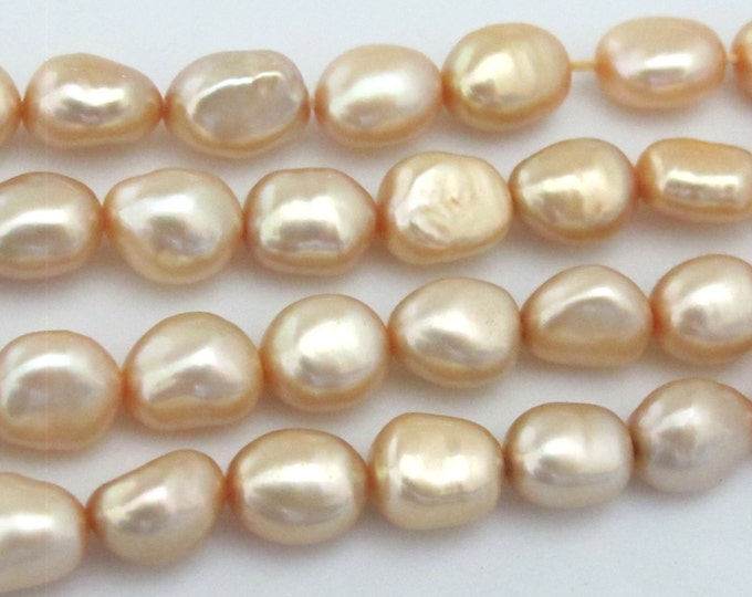 10 BEADS - Lustrous champagne color genuine freshwater cultured pearl s - PL028