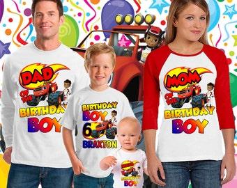 Blaze and The Monster Machines Birthday Shirt,Truck Birthday shirt,blaze birthday shirt,family tshirt set,family birthday tshirt,tshirts