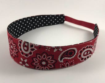 Red Paisley Handmade Fabric Headband, Adult Headband Woman, Womens Headband, Reversible Fabric Headband For Women,