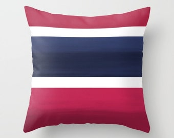 "Decorative Pillow Cover Throw Pillow Cover Navy Fuchsia White Ombre Accent Pillow Cover Cushion Cover Home Decor 16"" 18"" 20"" Euro Sham Cover"