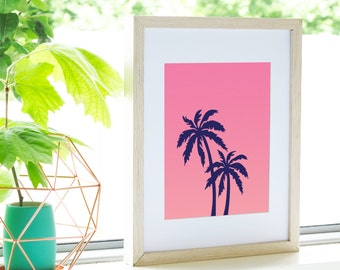 Pink Palm Tree Art Print