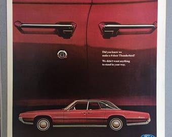1967 Ford Thunderbird Print Ad - 4-Door - Vintage Car Ad