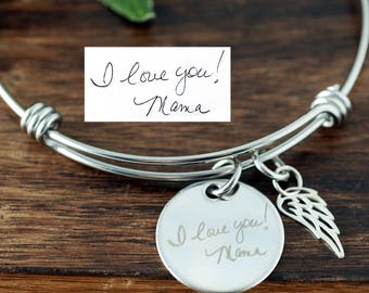 Custom Handwriting Memorial Jewelry, Actual Handwriting Bracelet, Personalized Memorial Bracelet, Bereavement Bracelet, Sympathy Gift