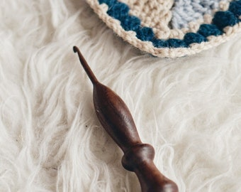 OOAK Wood Crochet Hook, Size G-6 (4 mm), Ergonomic, Wooden Crocheting Tool, Handcrafted Wooden Crochet Hooks