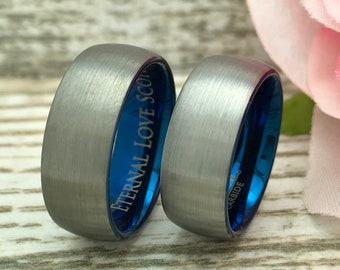 8mm  His and Hers Ring, Personalized Engraved Blue IP Plated Tungsten Rings, Anniversary Rings, Gift for Her, Gift for Him
