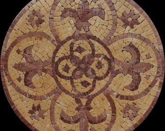 Round Fleur De Lys Medallion Earthy Stone Colors Marble Mosaic IN279