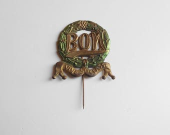 Antique French military conscript medal pin brooch,