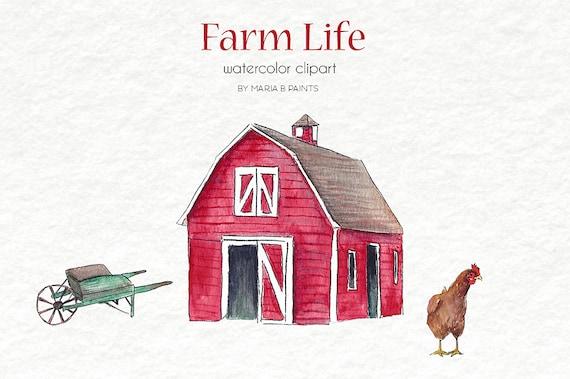 Watercolor Clip Art Farm Life Barn Farm animals House