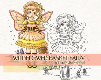 Digital Stamp Wildflower Basket Fairy, Digi Download, Floral Flower Fantasy, Coloring Page, Autumn Summer, Clip Art, Scrapbooking Supplies