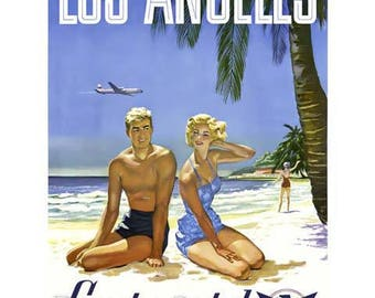 Los Angeles Travel Poster - Vintage Travel Print Art - California Home Decor