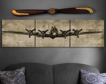 B-17 Sepia Wood Triptych Art- 90x24