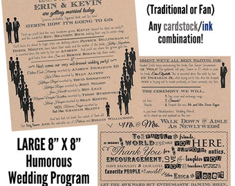 Funny Wedding Program Fan Humorous Wedding Program Outdoor Wedding Program Fan Beach - MEDIUM 2 Sheets