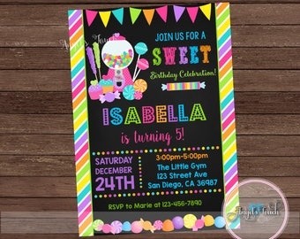 candyland party invitation candy land birthday invitation chalk candyland chalk birthday party invitation candyland invitation digital