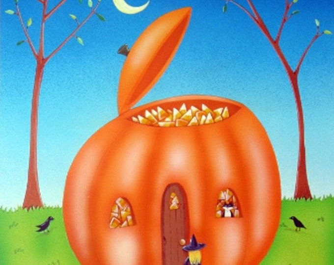 HARVEST HOME Framed Art Print |  Pumpkin House Painting | Children's Room Wall Art | Halloween Print | Gardeners Art | Valerie Walsh ArtWork