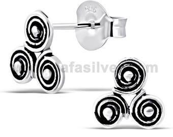 Sterling Silver Celtic Stud Earrings, Celtic Jewelry, Dainty Earrings,Spiral Earrings Simple,Celtic Earrings