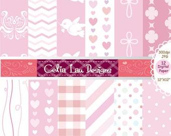 Pink color background set , Baby shower Girl pink Digital Paper, Girl first communion Scrapbooking Paper, Baby Girl Digital Paper (cg133)