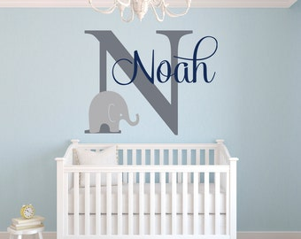 Wonderful Name Wall Decal   Elephant Wall Decal   Elephants Baby Boy Room Decor    Nursery Wall