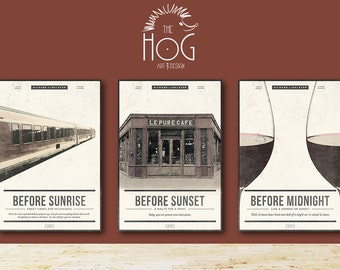 BEFORE TRILOGY SET Posters -  Save 20% - Before Sunrise, Sunset & Midnight - Unique Retro Movie Posters - Movie Print, Film Poster, Wall Art