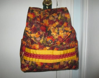 Quilted Fall Leaves Backpack/Purse