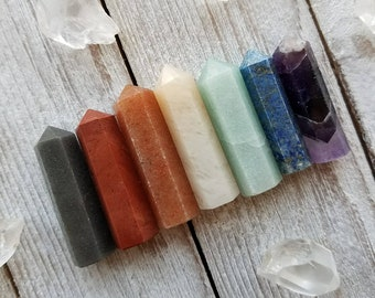 7 Piece Chakra Point Set, Natural, Reiki, Healing Stones, #1