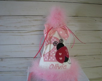 Pink ladybug party hat, first birthday hat, smash cake hat,  ladybug birthday party hat, 1st birthday party hat, 2nd birthday hat