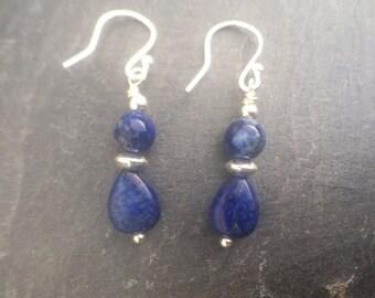 Lapis Lazuli Sterling Silver Earrings, Blue Lapis Lazuli Teardrop Earrings, Lapis Earrings, Cobalt Blue Jewellery,  Gemstone Jewelry Gift