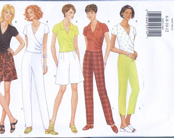 Size 6-12 Misses' Easy Top Shorts & Pants Sewing Pattern - Mock Wrap Top Pattern - Pants Sewing Pattern - Shorts Pattern - Butterick 5055