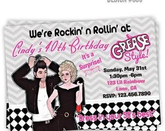 795 diy 1950s grease style party invitation or thank 886 diy 1950s grease style 2 party invitation or thank you card stopboris Image collections