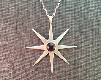 25% Off Garnet Cabochon Large Sterling Star Mid Century Modern Metalwork Necklace Pendant