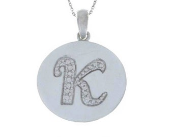Initial Letter K Pendant .925 Sterling Silver Rhodium Finish