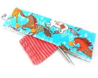 Needle Nook - DPN & Circular Needle Holder - Wild Horses (Flannel)