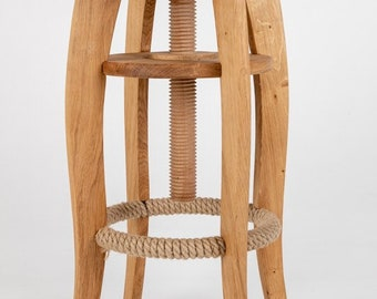 Oak adjustable height bar/ kitchen stool