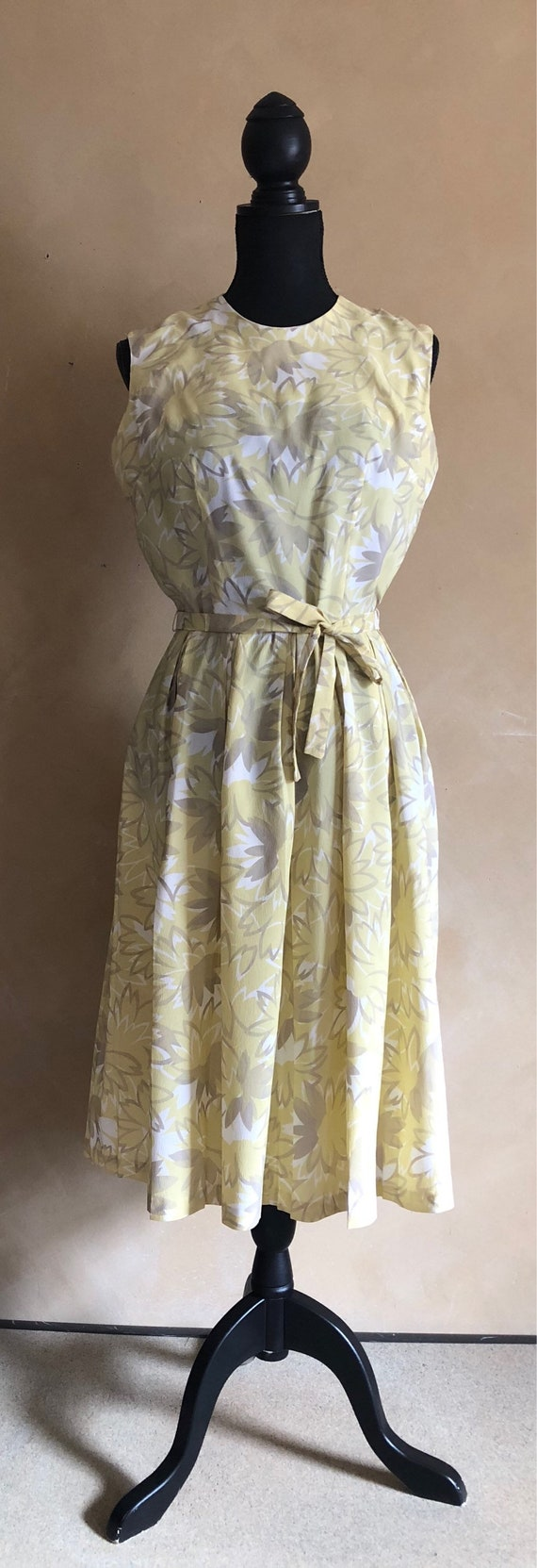 Vintage 50's Spring Summer Dress - Yellow & Grey Floral