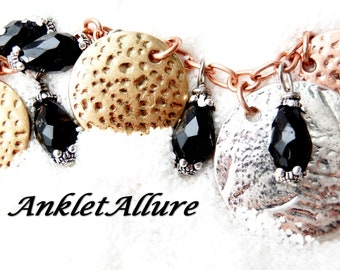Anklet with BELLS Gypsy MIXED METAL Anklet Black Belly Dance Anklets for Women