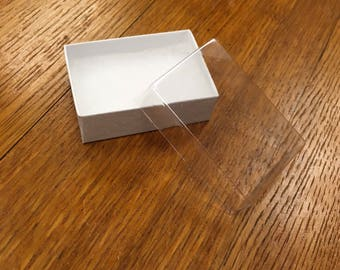 Earring box in white with clear lid, 2- 1/2 x 1-3/4 x 7/8 inch jewelry box